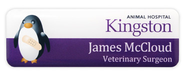 Borderless plastic name badges - White edge and white / purple background | www.namebadgesinternational.co.uk